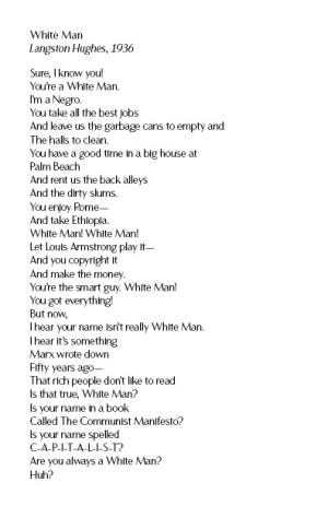 Poem: White Man , Langston Hughes (1936)
