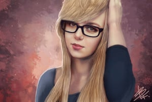 Girl With Glasses Bluefireart