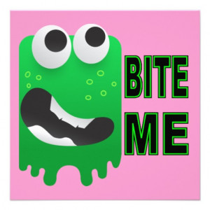 Bite Me - Green Monster Funny Creature Personalized Announcement