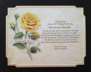50th ANNIVERSARY Gift Idea Personal ized Poem for Parents Grandparents ...