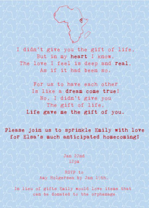"Adoption party invite. ""life gave us the gift of you"" requests no ..."