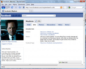 the official Facebook fan page for Mayhem , Allstate notes that Mayhem ...