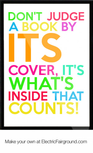 book by its cover, it's what's inside that counts! Framed Quote