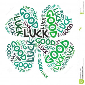 four-leaves clover, made with the words good luck.