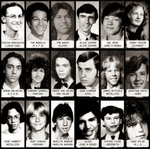 Yearbook photos of Rock and Heavy Metal icons