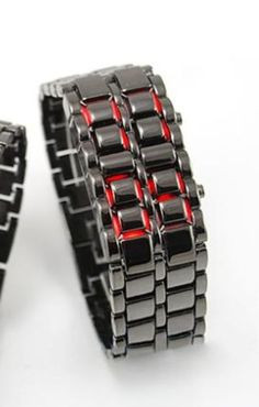 Thin Red Line, Black w/ Red LED Stainless Steel Firefighter Watch ...