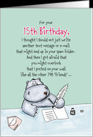 15th Birthday - Humorous, Whimsical Card with Hippo card - Product ...