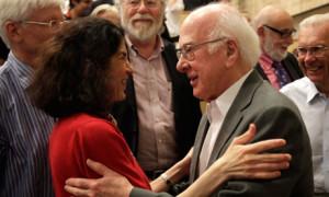 Fabiola Gianotti and Peter Higgs