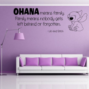 OHANA wall quote family lilo stitch decal sticker kids movie saying ...