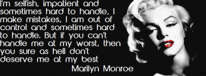 Marilyn Monroe Im Selfish Quote Facebook Cover Layout