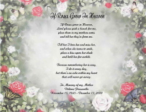 Personalized Memorial Poem For Loss of Mother Wife Husband Daughter