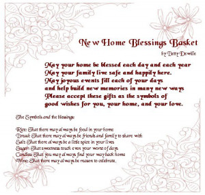 New home blessings basket sweet poem about home quotes