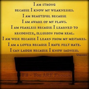 am strong because i know my weaknesses blessing quote