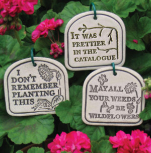 Funny Quote Garden Plant Container Ceramic Plague Sign Hanger