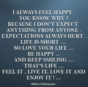 always feel happy you know why