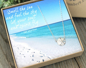 Gift boxed sterling silver sand dol lar Necklace with inspirational ...