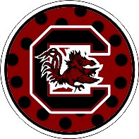 Features Block C logo with polka dots on round sticker in garnet ...