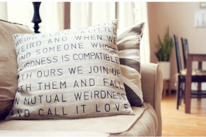 Stenciled Quote On Pillow