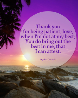 Sweet Love Picture Quote - Thank you being patient