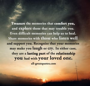 Grief Quotes Cards – Treasure the memories that comfort you