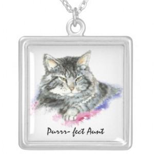 Custom Perfect Aunt Humor Quote with cute Cat Custom Necklace