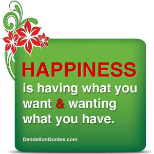 Happiness Is Having What You Want And Wanting What You Have.
