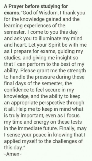 prayer before studying for Exams...