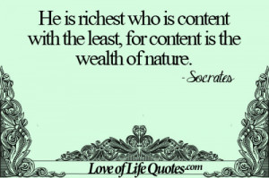 Socrates on content being the wealth of nature
