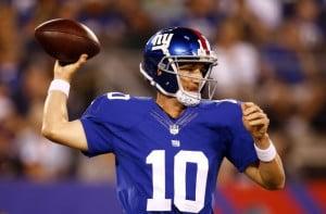 Aug 28, 2014; East Rutherford, NJ, USA; New York Giants quarterback ...
