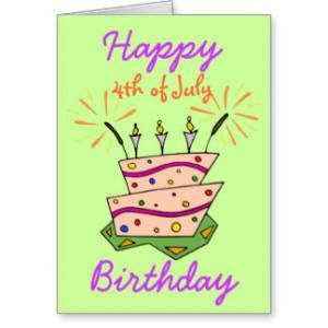 4TH OF JULY HAPPY BIRTHDAY Fireworks & Cake Card.