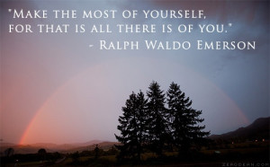 Make the most of yourself for that is all there is of you.