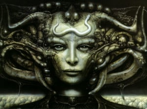 This is a painting from H r Giger the swiss artist has chosen to ...
