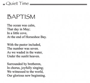 Quiet Time - Featured Poem: Baptism