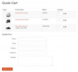 Quote Cart Form