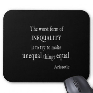 Vintage Aristotle Inequality Equality Black Quote Mouse Pad