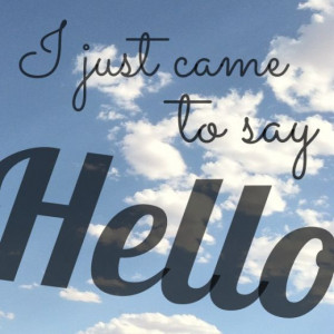 Just Came To Say Hello Quotes