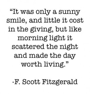 Scott Fitzgerald quote on smiling