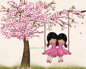 African American sisters wall art print, Cherry blossom tree, twins ...