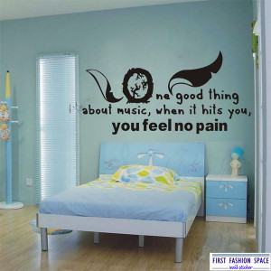 Free Shipping New Removable One Good Thing About Music Quotes Wall ...