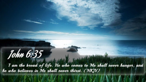 John 6:35 - Bible Verse Quote by bible-quote