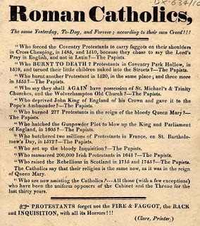 ... anti-Catholic flyer distributed in England. (Click on it for a closer