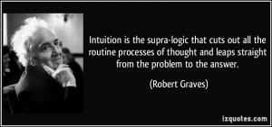Intuition is the supra-logic that cuts out all the routine processes ...