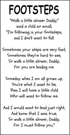footprints father's day poem | Little Stars Learning: Father's Day ...
