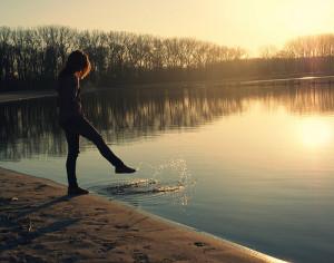 alone, girl, lake, sunset, trees, water