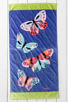 Kids' Butterfly Velour Beach Towel Quote
