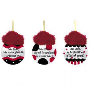 Arkansas Razorbacks 3-Pack Team Sayings Ornaments