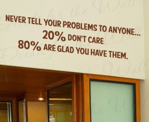 Never Tell Your Problems Funny Vinyl Wall Quote Decal