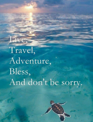 Live, Travel, Adventure, Bless and don't be sorry.Life, Quotes, Keep ...