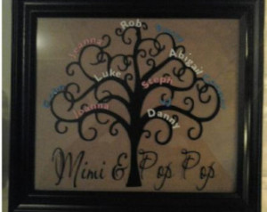 Personalized Family Tree Frame Keep sake...Makes a great Mothersday ...