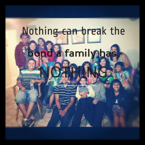 Nothing Can Break the Bond a Family has Nothing ~ Family Quote